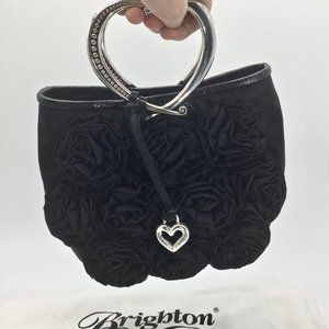 Brighton Black Rose Fabric Heart Shaped Handles Handbag